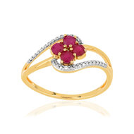 Bague or 375 2 tons fleur rubis et diamants