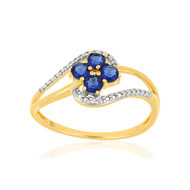 Bague MATY Or 375 jaune Saphirs et Diamants