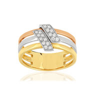 Bague 3 ors 750 diamants