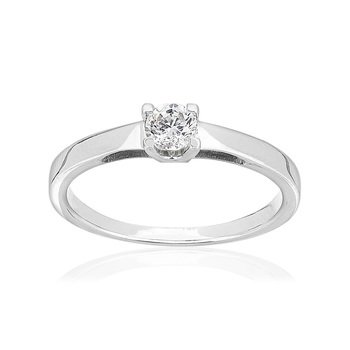 Solitaire or 750 blanc diamant synthétique 0,25 carat