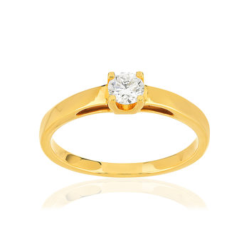Solitaire or 750 jaune diamant synthétique 0,25 carat