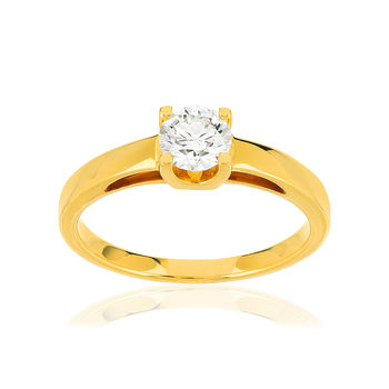 Solitaire or jaune 750 diamant synthétique 0.50 carat