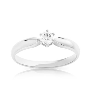 Bague Solitaire or 750 blanc diamant 0.20 carat