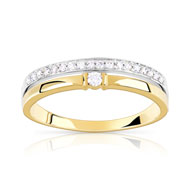 Bague alliance solitaire 2 ors 750 diamant