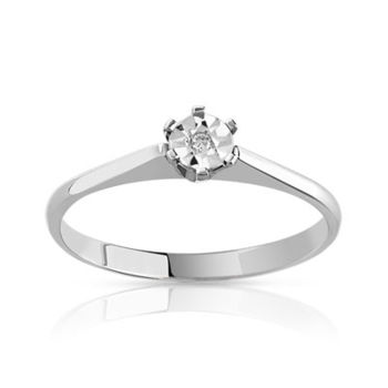 Solitaire or 750 blanc diamant