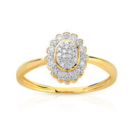 Bague or 375 2 tons fleur diamants