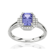 Bague or blanc 375 diamants tanzanite