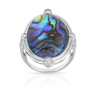 Bague argent 925 ovale nacre abalone