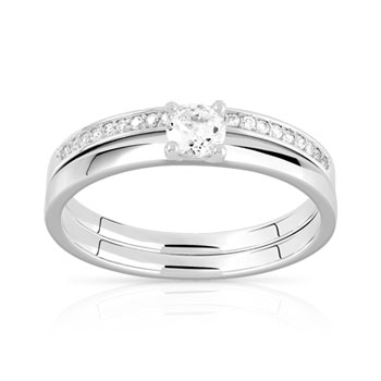 Duo alliance demi-tour solitaire argent 925 zirconias