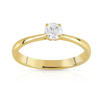 Bague solitaire or 750 jaune diamant 25/100e de carat