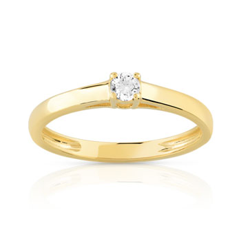 Bague solitaire or 750 jaune diamant 10/100e de carat