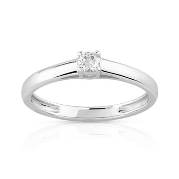 Bague solitaire or 750 blanc diamant 10/100e de carat