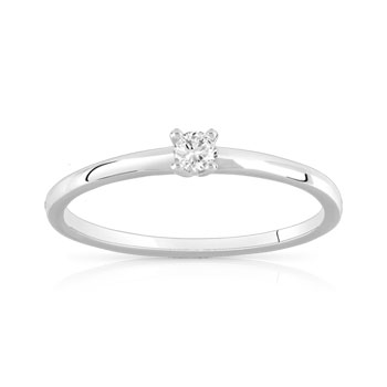 Solitaire or 750 blanc diamant 0.08 carat