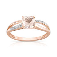 Bague or 375 rose morganite et diamant