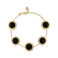 Bracelet COLLECTION CONSTANCE VALENTINA Email noir plaqué or ajustable
