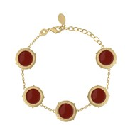 Bracelet COLLECTION CONSTANCE VALENTINA Email rouge plaqué or ajustable