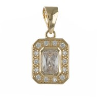 Pendentif plaqué or cubic zirconia forme rectangle